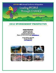 2012 SPONSORSHIP PROSPECTUS