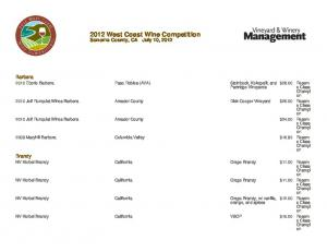 2012 West Coast Wine Competition