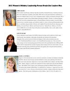 2012 Women s Ministry Leadership Forum Break-Out Leaders Bios