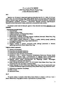 2012 z XIX Sesji Rady Miasta Nowy Targ z dnia 26 kwietnia 2012 r