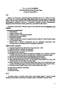 2012 z XX Sesji Rady Miasta Nowy Targ z dnia 31 maja 2012 r