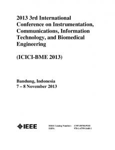 2013 3rd International Conference on Instrumentation, Communications, Information Technology, and Biomedical Engineering (ICICI-BME 2013)
