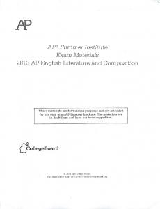 2013 AP English Literature and Composition