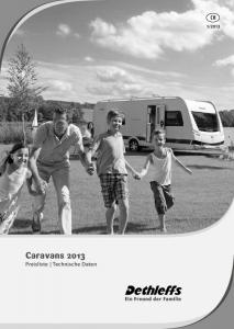 2013. Caravans 2013 Preisliste Technische Daten