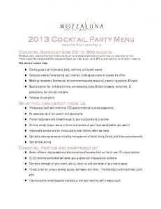 2013 Cocktail Party Menu