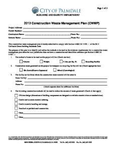 2013 Construction Waste Management Plan (CWMP)