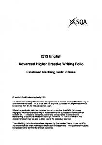 2013 English. Advanced Higher Creative Writing Folio. Finalised Marking Instructions
