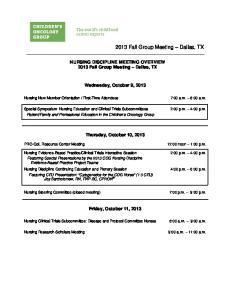 2013 Fall Group Meeting Dallas, TX
