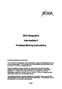 2013 Geography. Intermediate 2. Finalised Marking Instructions