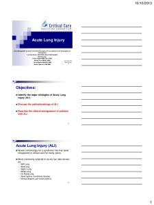 2013. Identify the major etiologies of Acute Lung Injury (ALI)