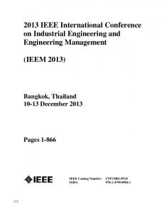 2013 IEEE International Conference on Industrial Engineering and Engineering Management
