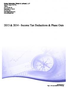 2013 & Income Tax Deductions & Phase Outs