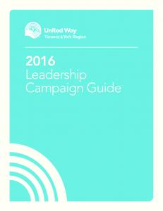 2013 Leadership Campaign Guide Leadership Campaign Guide