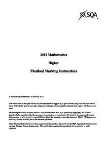2013 Mathematics. Higher. Finalised Marking Instructions