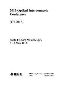 2013 Optical Interconnects Conference