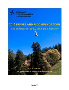 2013 REPORT AND RECOMMENDATIONS