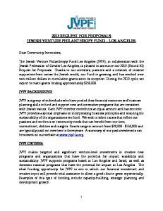 2013 REQUEST FOR PROPOSALS JEWISH VENTURE PHILANTHROPY FUND LOS ANGELES