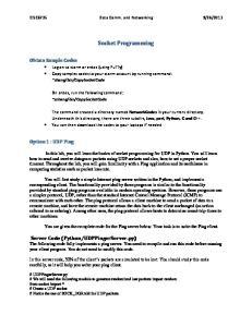 2013. Socket Programming