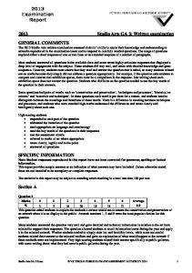 2013 Studio Arts GA 3: Written examination