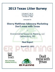 2013 Texas Litter Survey