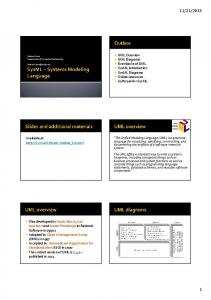 2013. UML Overview UML Diagrams Drawbacks of UML SysML Introduction SysML Diagrams Online resources Software for SysML