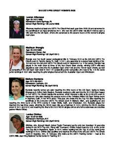 2013 USTA PRO CIRCUIT WOMEN S BIOS