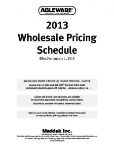 2013 Wholesale Pricing Schedule
