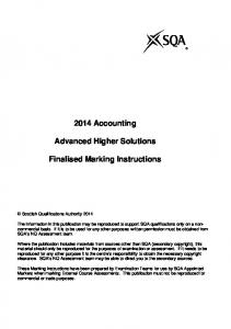 2014 Accounting. Advanced Higher Solutions. Finalised Marking Instructions