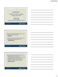 2014. Audit Planning The Basics of Internal Auditing January 23-24, 2014