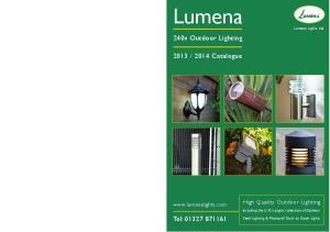 2014 Catalogue. Tel: High Quality Outdoor Lighting.  Lumena Lights Ltd