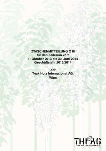 2014. der Teak Holz International AG, Wien
