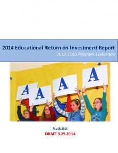 2014 Educational Return on Investment Report Program Evaluation
