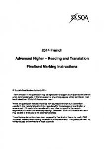 2014 French. Advanced Higher Reading and Translation. Finalised Marking Instructions