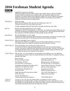 2014 Freshman Student Agenda