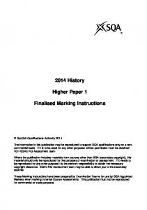 2014 History. Higher Paper 1. Finalised Marking Instructions