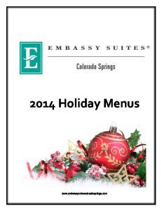 2014 Holiday Menus