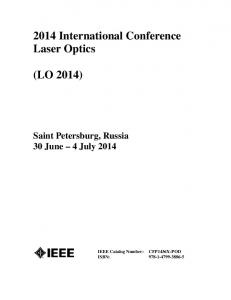 2014 International Conference Laser Optics