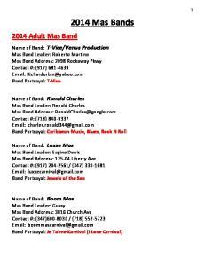 2014 Mas Bands Adult Mas Band