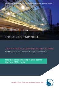 2014 NATIONAL SLEEP MEDICINE COURSE