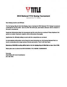2014 National TITLE Boxing Tournament Sponsored by TITLE Boxing
