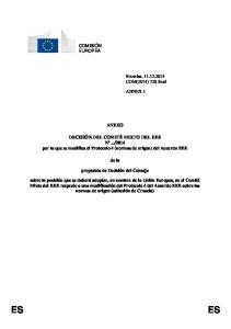 2014 por la que se modifica el Protocolo 4 (normas de origen) del Acuerdo EEE