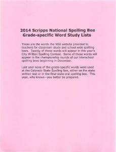 2014 Scripps National Spelling Bee Grade-specific Word Study Lists
