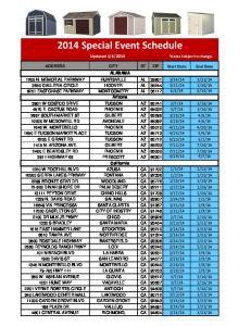 2014 Special Event Schedule
