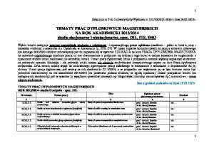 2014 studia stacjonarne i niestacjonarne, spec. DIL, ITS, IMO