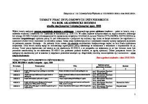 2014 studia stacjonarne i niestacjonarne spec. IBB