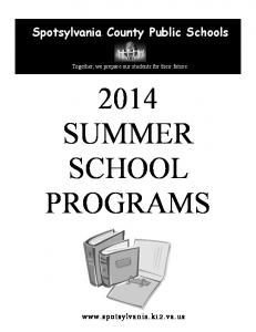 2014 SUMMER SCHOOL PROGRAMS