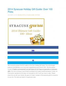 2014 Syracuse Holiday Gift Guide: Over 100 Picks