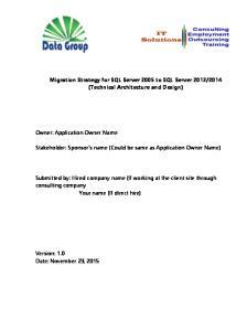 2014 (Technical Architecture and Design)