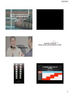 2014. Updates on Education Law, Policies, and Jurisprudence