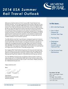 2014 USA Summer Rail Travel Outlook